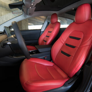 tesla model 3 custom red leather interior seat upgrade kit